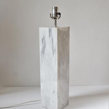 "Vintage Modernist White Carrara Marble Table Lamp, in the manner of Walter Von Nessen, 18"" by SourcedModern"
