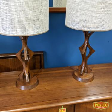 Pair of Mid-Century Modern walnut table lamps in the style of Adrian Pearsall