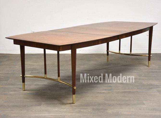 Bert England for Johnson Furniture Walnut and Brass Dining Table by mixedmodern1
