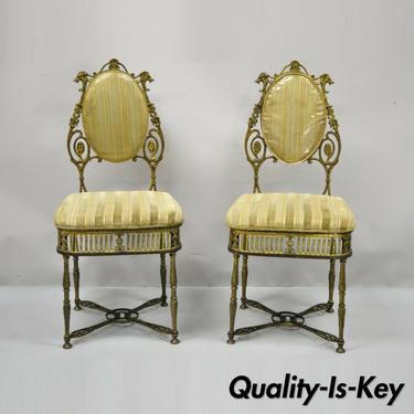 Antique Victorian Bronze Brass Parlor Salon Accent Chair Oscar Bach Style - Pair