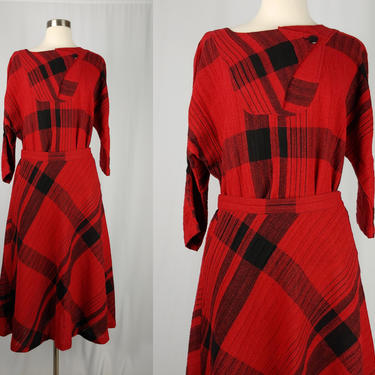 Vintage Seventies Red Plaid Set - 1970s Wool Blend Top and Skirt Set - 70s Dolman Sleeve Blouse and Midi Skirt Set - Medium by JanetandJaneVintage