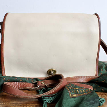 Vintage White Leather Coach Crossbody with Brown Detail, Classic Coach Purse, Vintage Designer Bag, Classic Purse, Leather Bag, Saddle Bag by FORAGEmodernhome
