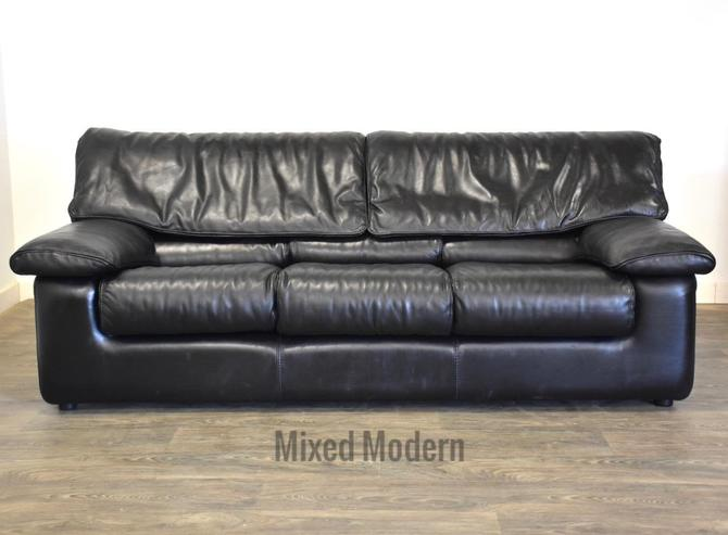 Roche Bobois Black Leather Sofa by mixedmodern1