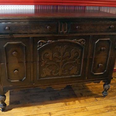 4 Drawer Dark Wood Dresser w Floral Carvings