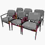 Set of 6 (2 Arm + 4 Side) Pivot Back Dining Chairs by Arne Vodder