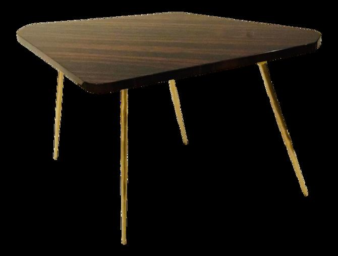Caracole Signature Modern Macassar Ebony Lacquer and Textured Brass the Trilogy Side Table