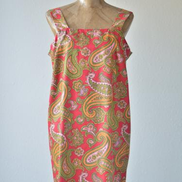 60s Vintage PAISLEY SILK JUMPER Dress, Mod Tent Dress, Red Mini Dress, Babydoll Pink Orange Avocado Green Scooter Dress, Baggy Loose Jumper by MOBIUSMOD