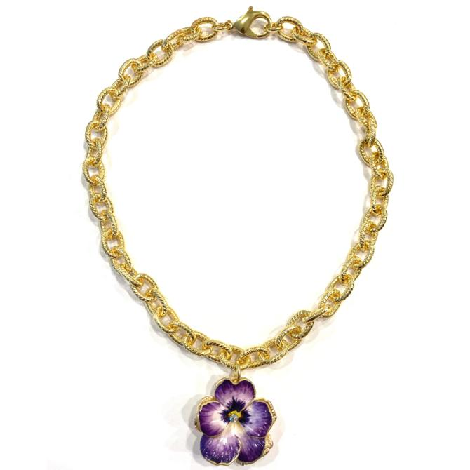 The Pink Reef amethyst pansy necklace