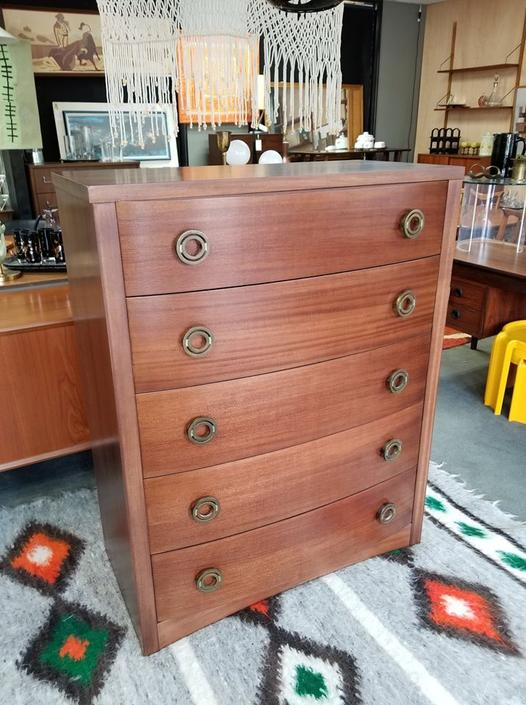Mid-Century five drawer highboy dresser