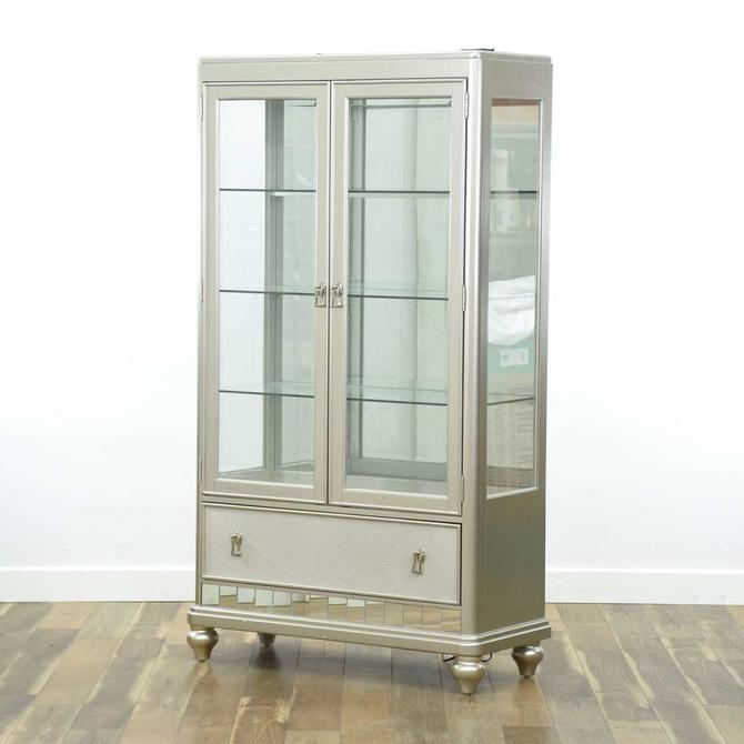Contemporary Silver Finish Mirrored Curio Cabinet