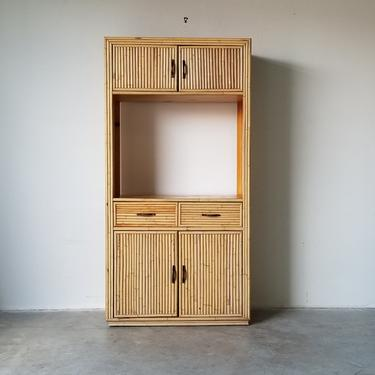Vintage Bielecky Brothers Style Rattan Hutch Cabinet With Brass Handles. by MIAMIVINTAGEDECOR