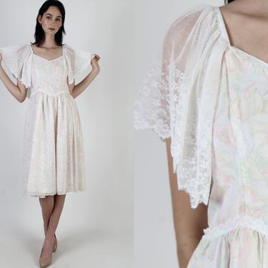 Gunne Sax Lilac Pastel Floral Dress / Womens Sheer White Lace Sleeves / Vintage 80s Dusty Rose Victorian Garden Wedding Mini Midi Dress by americanarchive