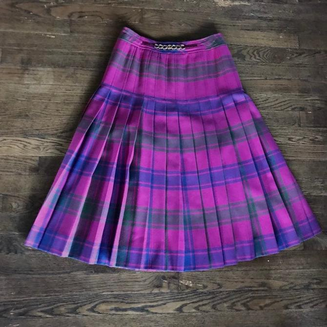 Vintage Celine Paris Pleated Pink Tartan Plaid School Below Knee Skirt size 40 Purple by BrainWashington