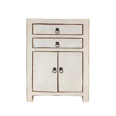 Distressed Off White Lacquer Two Drawers End Table Nightstand cs6188E by GoldenLotusAntiques