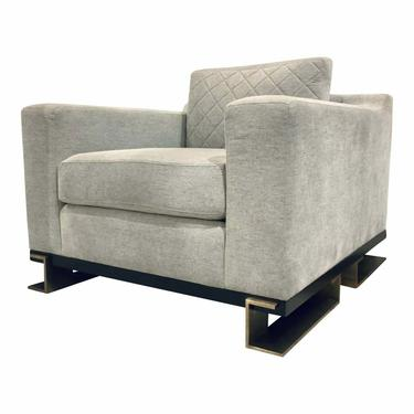 Caracole Modern Gray Quilted Edge Club Chair