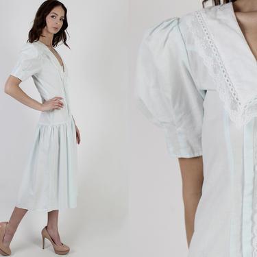80s Light Blue Gunne Sax Dress / 1980s Romantic White Floral Lace Dress / Deco Bridal Drop Waist Tea Party Wide Collar Lawn Maxi Dress by americanarchive