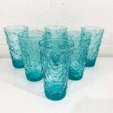 Vintage Ice Blue Anchor Hocking Lido Milano Crinkle Glass Iced Tea Glasses Set of Six Turquoise Morgantown Seneca Aqua Textured Highball by CheckEngineVintage