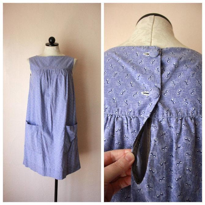 40s 50s Cotton House Dress Periwinkle Size M by NoSurrenderVintage