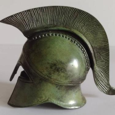 "Vintage Handcrafted Cast Bronze Metal Helmet Greek Sculpture Miniature Replica Spartan Trojan War Roman Helmet 5"" by TalonVintage"