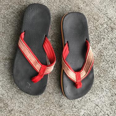 1980s Flip Flops Vintage Sandals red Black Stripe Foam 80s Eighties Thick by purevintageclothing