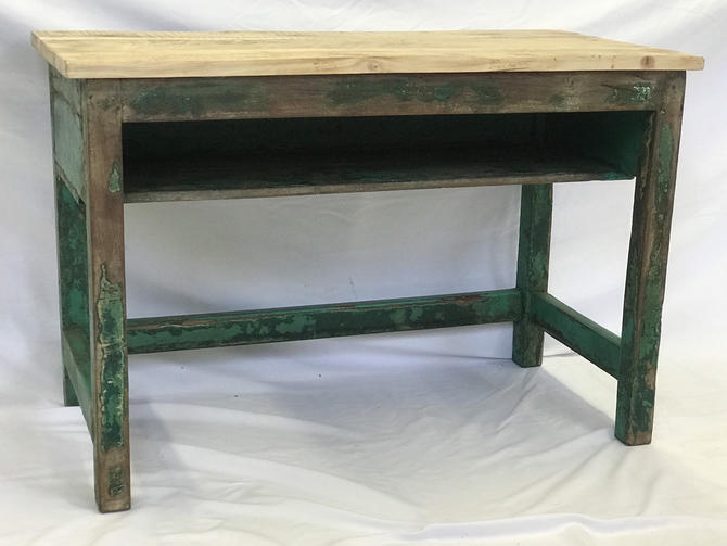 Free and Insured Shipping Within US - Antique Painted Side Table Desk Storage Stand with great Patina by BigWhaleConsignment