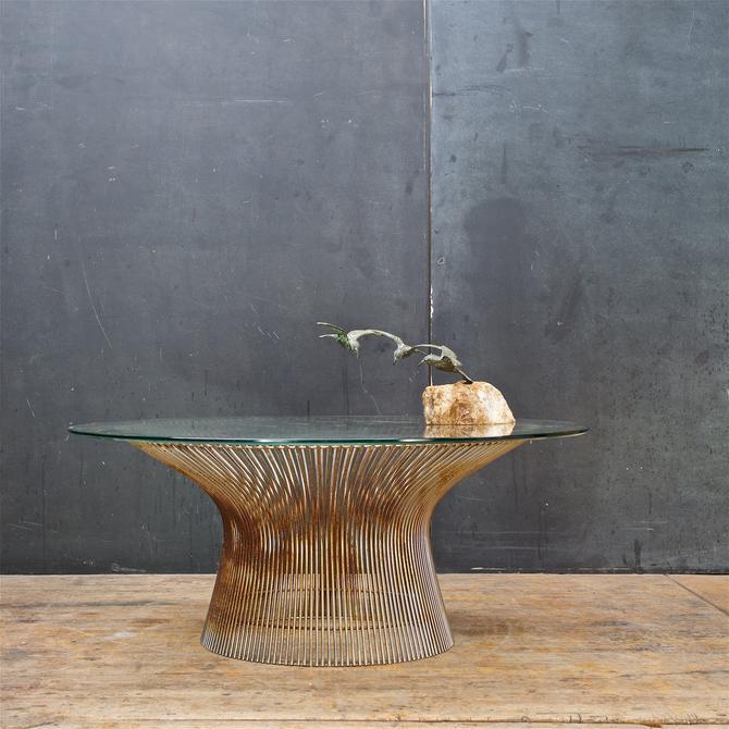 Rusty Warren Platner Knoll Coffee Table Nickel Plated Glass Vintage Mid-Century Modern by BrainWashington