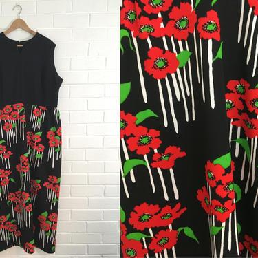 Vintage Poppy Maxi Dress 60s Mod Black White Red Green 1960s Floral Flowers Mod Twiggy Sleeveless Women's Plus Size XL XXL Curvy Volup by CheckEngineVintage