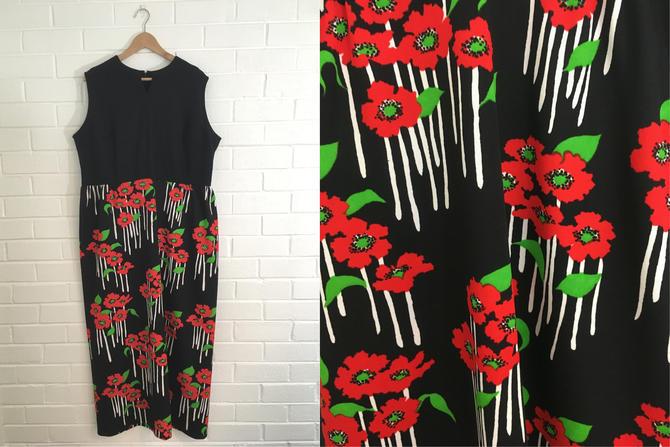 Vintage Poppy Maxi Dress 60s Mod Black White Red Green 1960s Floral ...