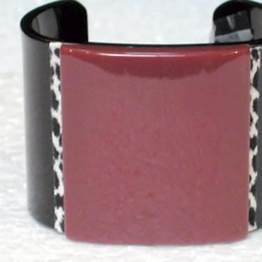 French Bracelet Lucite Cuff Solid Black with Soid Berry Center and Leopard Trim by CafeSocietyStore