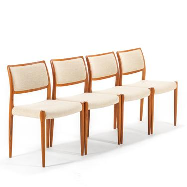 Niels Moller for J.L. Mollers Mobelfabrik Model 80 Dining Chairs in Teak w/ Original Upholstery, A Set of 4 by ABTModern