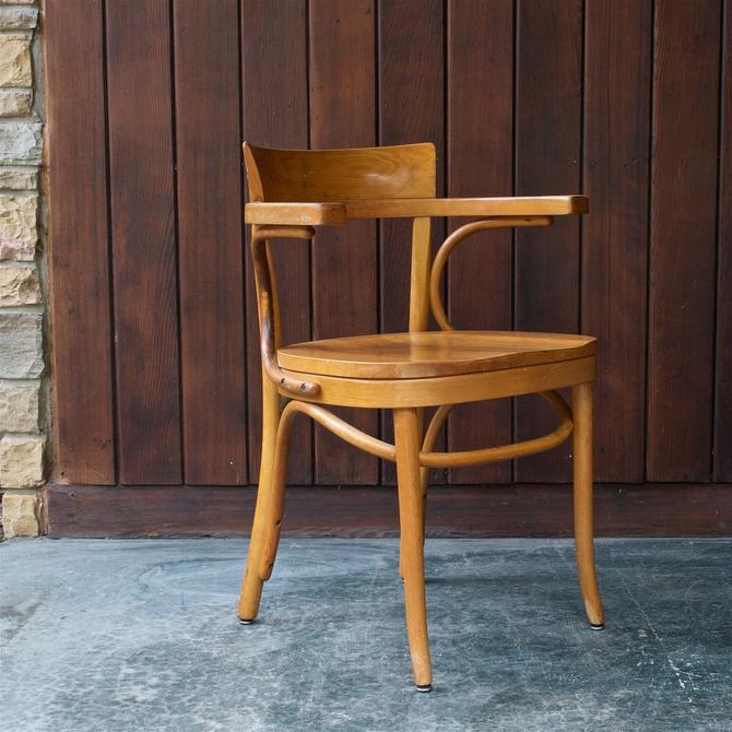 Mid-Century Thonet Armchair Bistro Cafe Desk Chair Vintage Modern Birch by BrainWashington