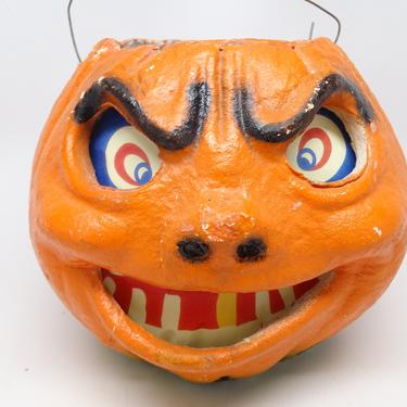 Antique Vintage 1940's Halloween 5 3/4 Inch Frowning Jack-O-Lantern with Scary Face, made with Pulp Paper Mache, Sneering JOL by exploremag