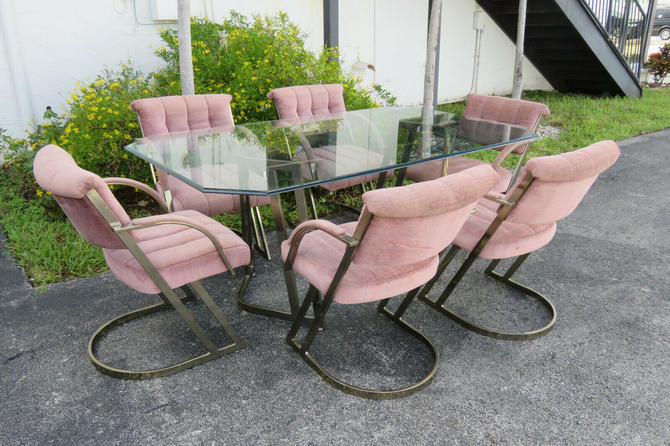 Hollywood Regency Glass Top Dining Table with 6 Chairs by Cal Style 1575