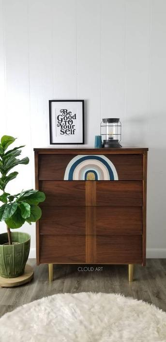 Midcentury Boho Rainbow Modern 4 Louvered Angled Drawer Dresser By Ward Furniture Baby Changing Station Bedroom Neutral Nusery by CloudArtbyKristen