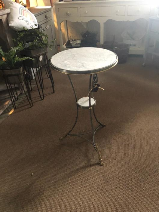 Art Deco Marble and Brass Side Table