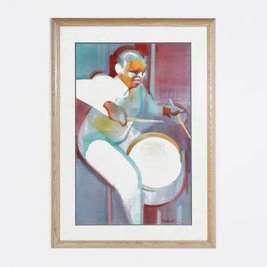 Framed Drummer Print by BetsuStudio
