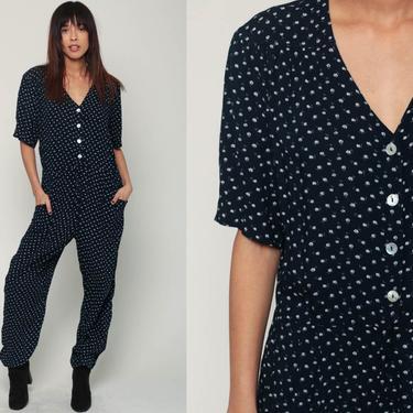 Floral Jumpsuit 80s Pantsuit Vintage Baggy Romper Pants 90s Grunge Flower Print Boho Short Sleeve Button Up Navy Blue Tapered Medium Large by ShopExile