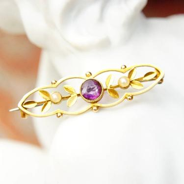 """Antique Victorian 14K Gold Amethyst Seed Pearl Bar Pin, Ornate Yellow Gold Brooch, Brilliant Amethyst Gemstone, Accent Pearl Seeds, 1 1/2"""" L by shopGoodsVintage"""