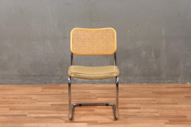 Mid Century Cane & Vinyl Cantilever Chrome Chair – ONLINE ONLY