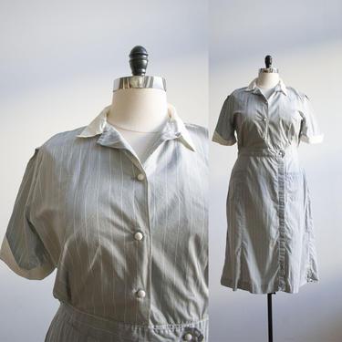Gray Pinstriped 1950s Cotton Uniform Dress / Vintage Diner Waitress Dress / Vintage Bob Evans Uniform / Plus Sized Vintage / 1950s Dress 46 by milkandice