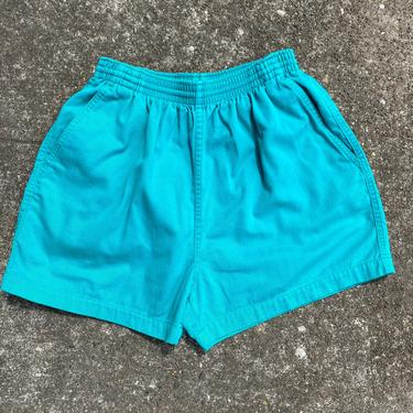 Vintage 90's  shorts~100% cotton high waisted sporty shorts~ elastic drawstring waist with pockets~ gym shorts activewear~  size 4-6 ~teal by HattiesVintagePDX