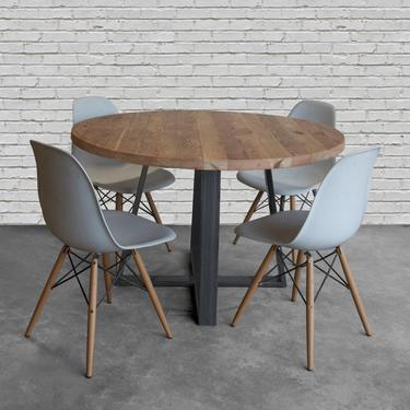 """Urban Wood Goods Pub Table made in reclaimed wood and steel legs in your choice of size, wood top thickness (1.5"""" or 2.5"""" thick) and finish by UrbanWoodGoods"""