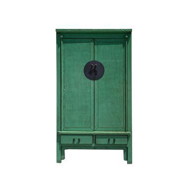 Oriental Distressed Pastel Green Moon Face Tall Wedding Armoire Cabinet cs6114E by GoldenLotusAntiques