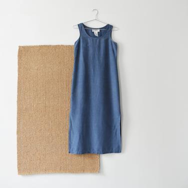 vintage blue linen dress, 90s sleeveless maxi dress, size XXS / XS by ImprovGoods