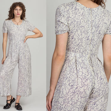 90s Grunge Floral Jumpsuit - Small to Medium | Vintage White & Purple Ruched Pantsuit by FlyingAppleVintage