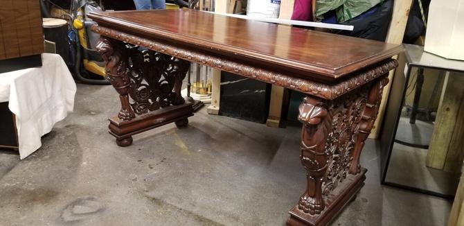 Antique Italian Renaissance Revival Ornate Carved Writing Desk/Entry Table