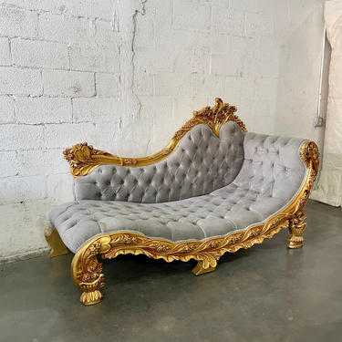 Rococo Chaise Lounge Vintage Settee French Furniture Vintage Baroque Settee Interior Designer Tufted Settee Leather French Sofa by SittinPrettyByMyleen