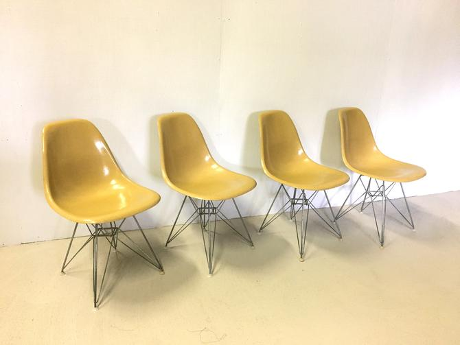 Eames  Eiffel Base Fiberglass Shell Chairs for Herman Miller by retrocraftdesign