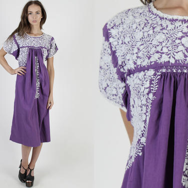 Purple Oaxacan Maxi Dress / All White Floral Mexican Embroidered Dress / Womens San Antonio Cotton Made In Mexico Long Dress by americanarchive