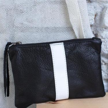 Black Leather Stripe Zip Pouch